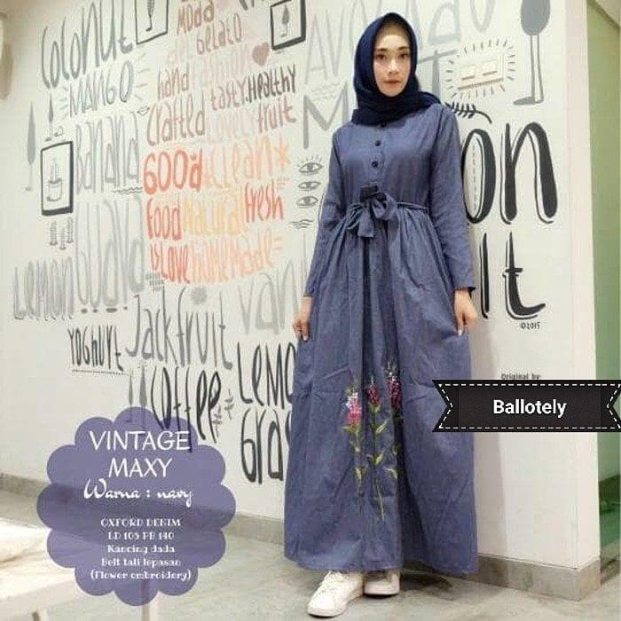 Baju Original Vintage Maxi Dress Muslim Modern Panjang Hijab Fashion Perempuan Casual Gamis Pakaian Wanita Terbaru Tahun 2018