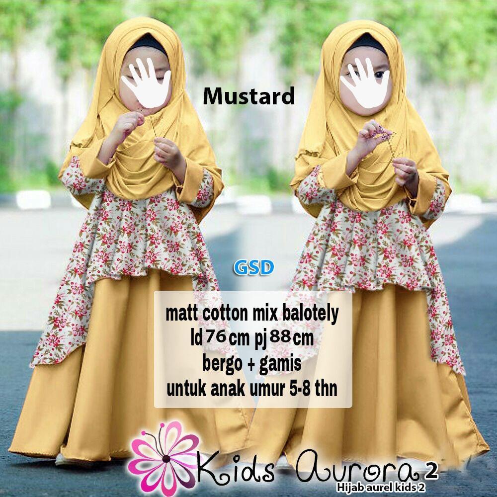 Setelan Baju Anak Cewek / Baju Muslim Anak / Baju Batik Anak / Hijab Aurel Kids