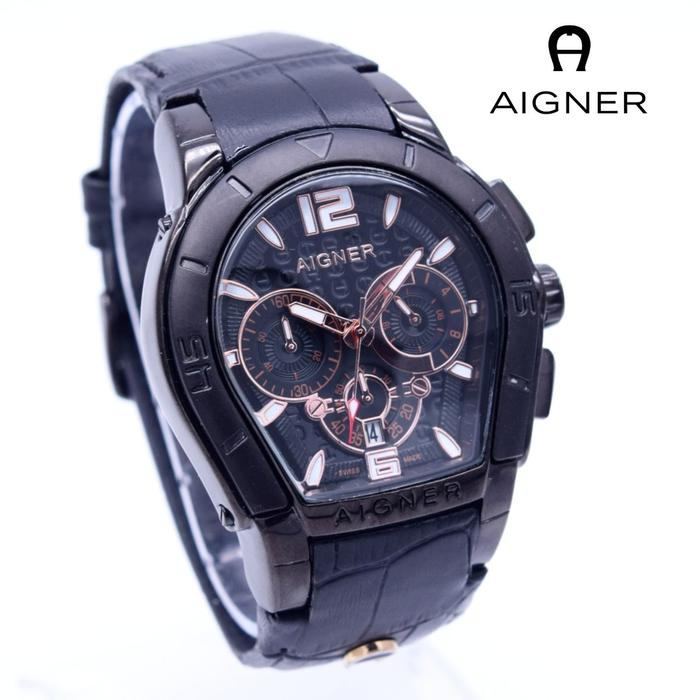DISKON TERLARIS - Jam Tangan Pria   Cowok Aigner Bari Leather Full Black  TERMURAH 6a2ab65ca6