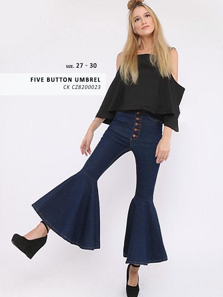 Celana Jeans Cutbray Fashion Wanita - Umbrella cutbray FIVE BUTTON NAVY - ANCIEN JEANS