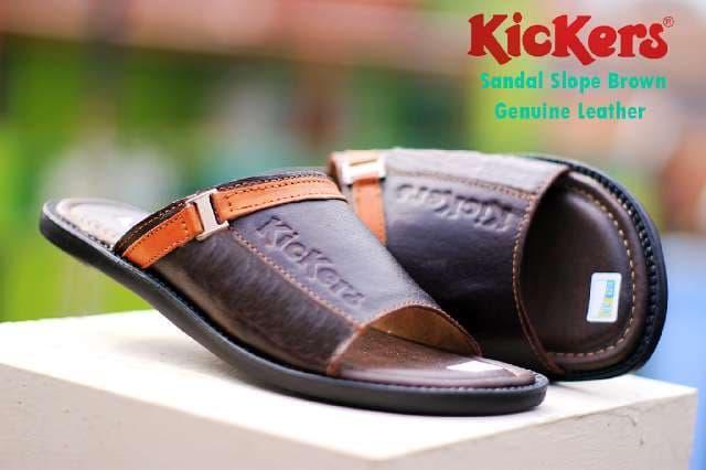 Harga Promo!!! Sandal Kickers Pria Casual Kulit Asli Slip On Elegan Buat Lebaran Cokl - ready stock