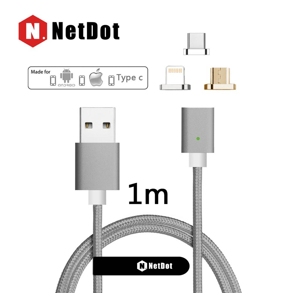 NetDot Gen3 USB C + Lightning + Micro USB ( Android ) 3 in 1 Fast Charging & Sync Data Magnetic Cable