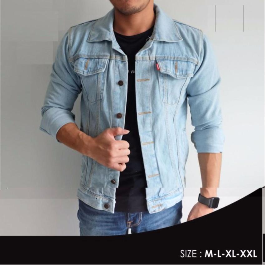 MYFASHION LAZADA SALE Jaket Jeans Denim Casual Pria - BIRUMUDA
