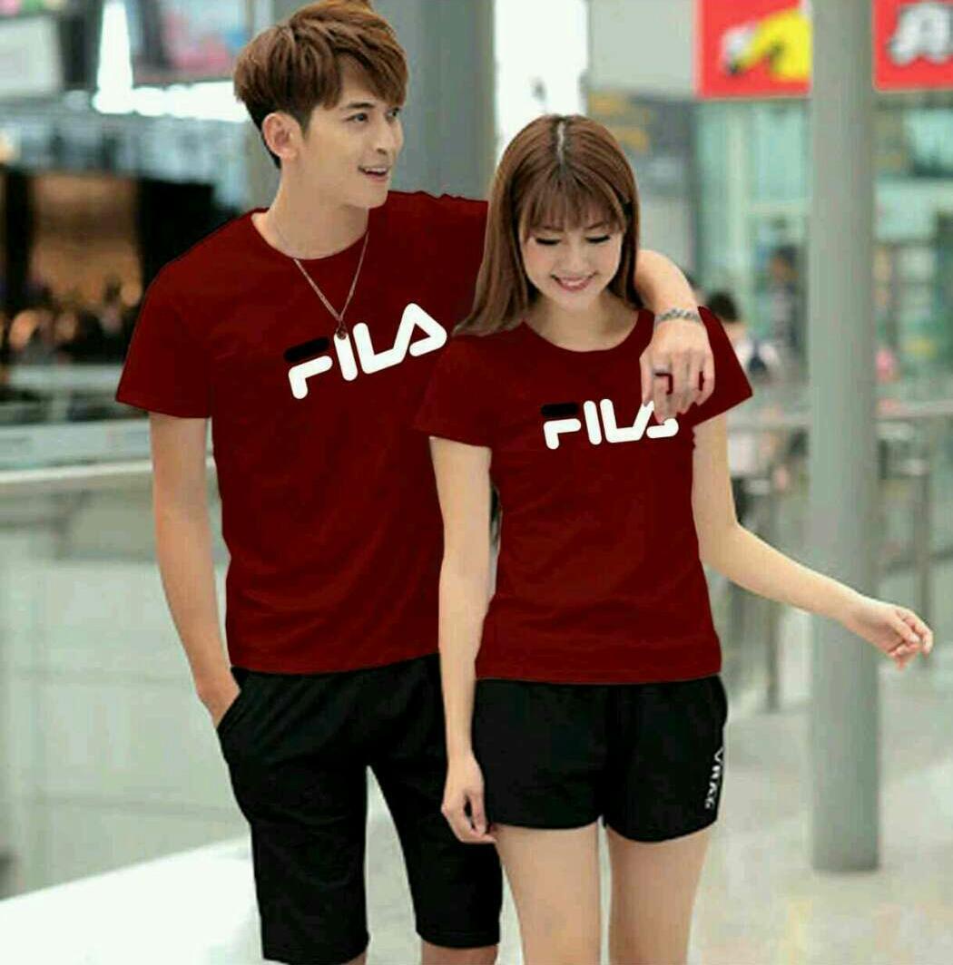 Jual Baju Couple Family Kaos Pria Abu Beach Pantai Cowok Couplelover Pasangan Fashion Kembaran T Shirts Fila Polos Pd