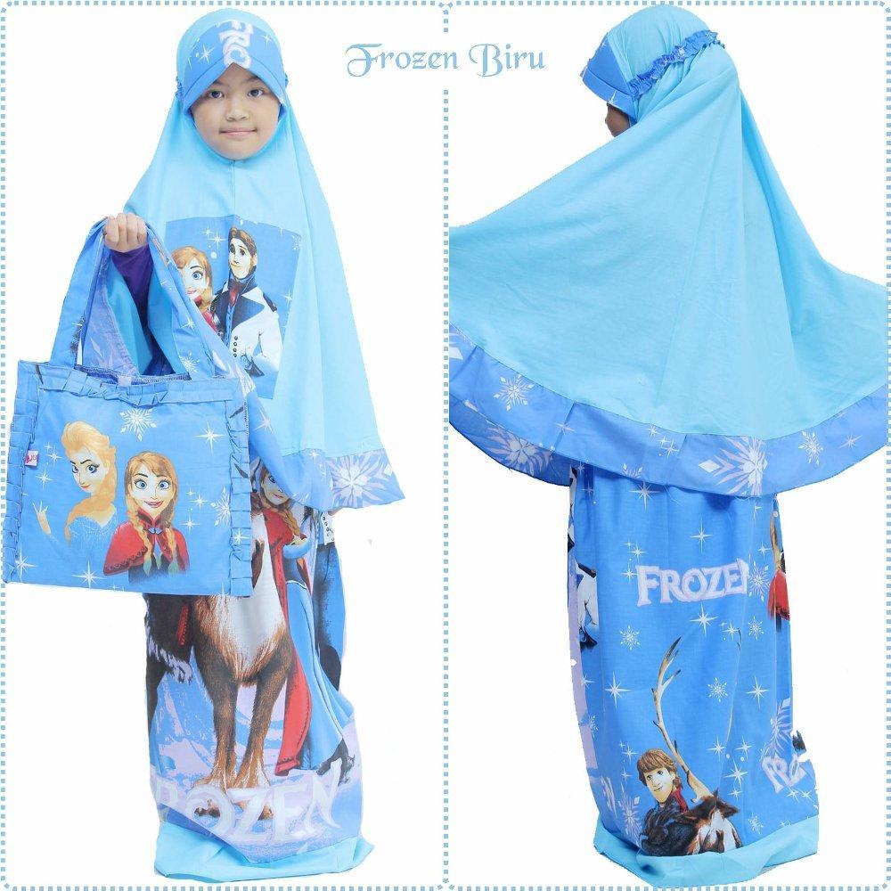 Mukena Anak Karakter Frozen Biru Size XS di lapak Mukena Yumna mukenayumna