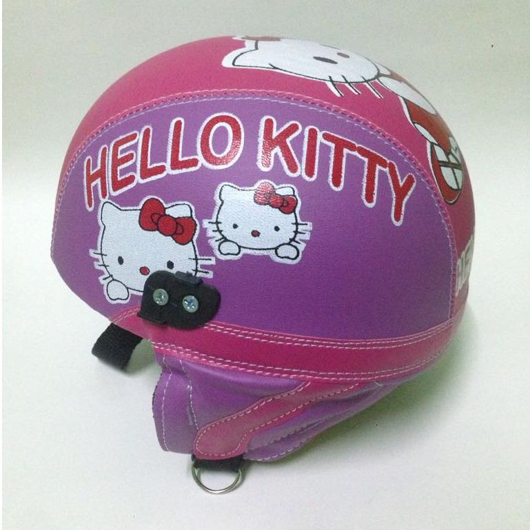 helm anak anak retro chip lucu hello kitty usia 1 sampai 5 tahun ungu pink