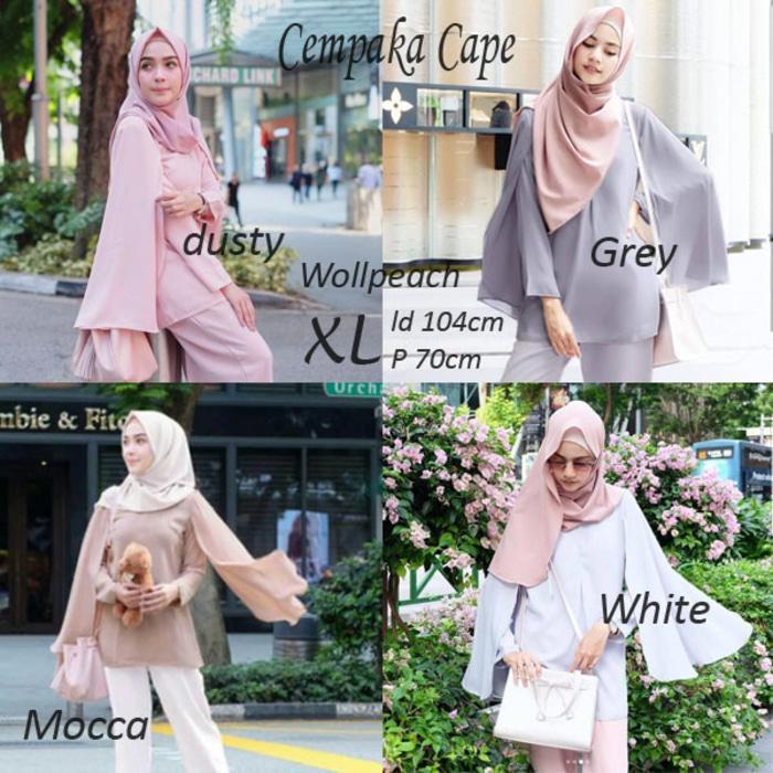 baju Atasan Wanita Cempaka Cape Tunik Blus Muslim - Dusty