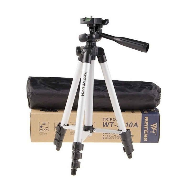 Weifeng Portable Tripod Stand 4 Section Aluminium Legs with Brace WT-3110A + FREE holder U- Silver