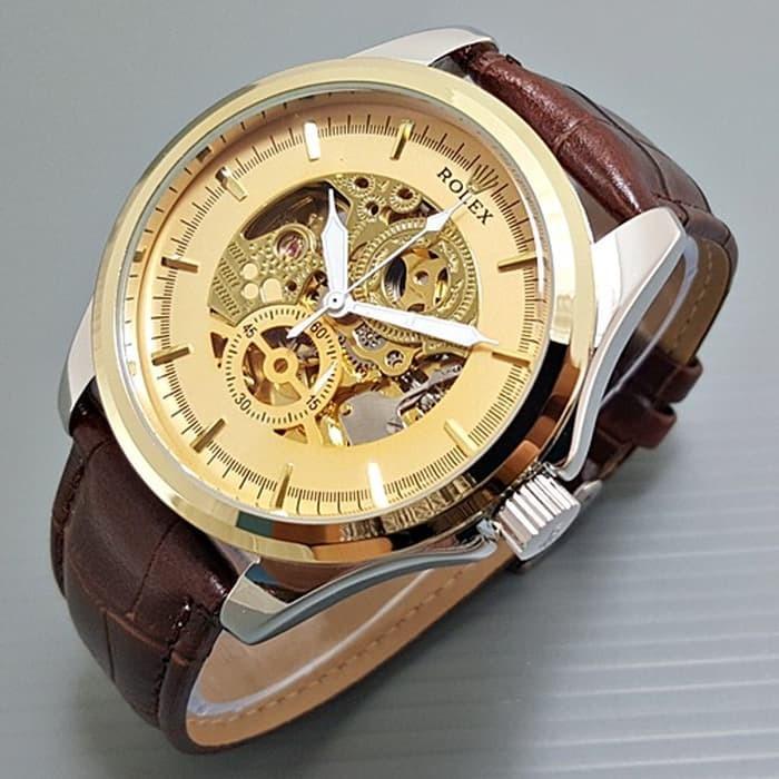 Jam tangan pria / Jam tangan pria original / Jam tangan pria murah / Jam tangan pria terbaru / Jam tangan pria swiss army / Jam tangan pria terbaik / Jam Tangan Pria / Cowok Rolex Skeleton BigSize Gear Leather Kombi Gold DISKON MURAH!!!
