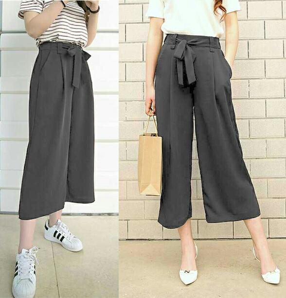 UC Celana Kulot Wanita  Long Pant Cullote Scuba  Fashion Polos  Modis Model Terbaru S3 (lotku) - Abu Grey