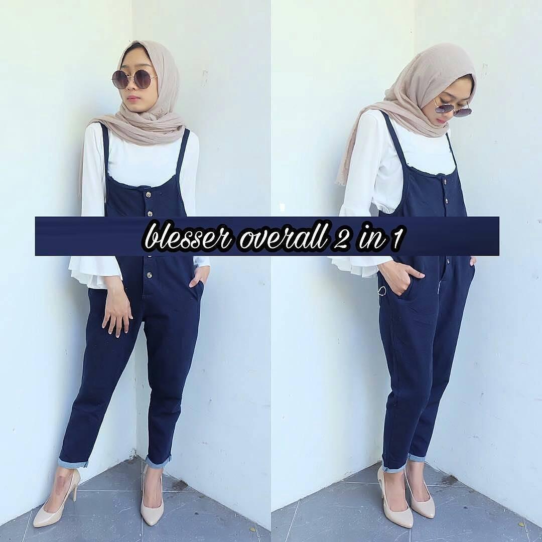 New Baju Original Blesser Overall Celana Jumsuit Setelan Atasan +  Rok Fashion Wanita Pakaian Muslim Cewek Hijab