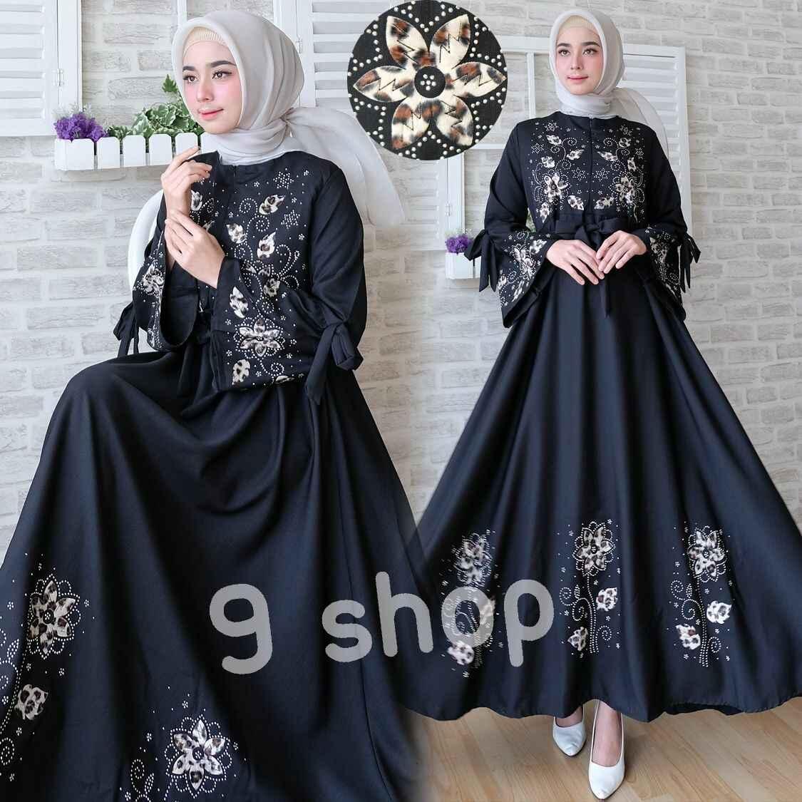 9 Shop Baju Gamis Syari Dress Maxi Muslim Wanita BUNGA (No Jilbab) / Baju Muslim Wanita / Gamis Muslim / Dress Muslimah / Syari'i Muslimah / Gamis Dress / Gamis Emboss / Gamis Murah / Gaun Muslim / Gamis Remaja / Gamis Terbaru