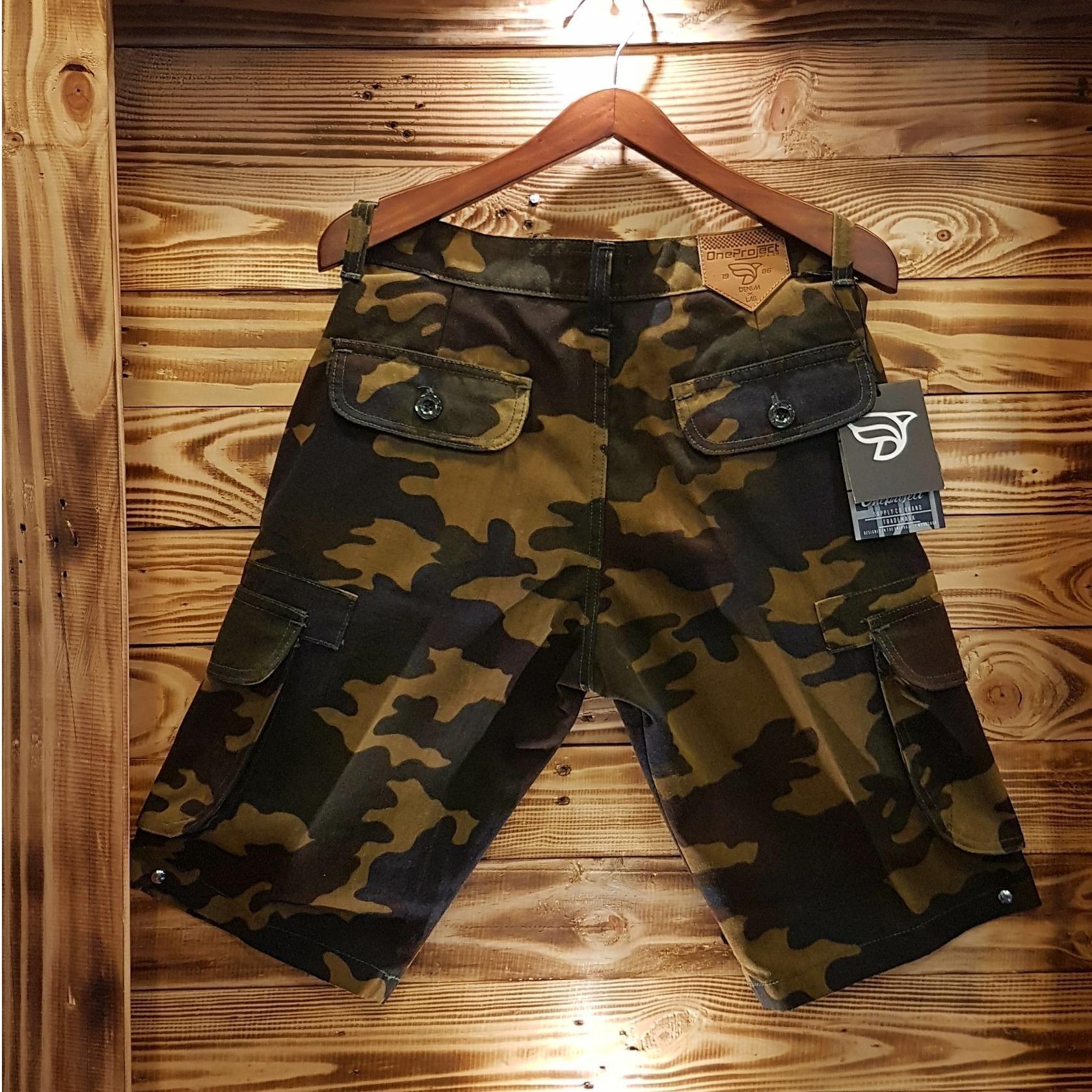 3R/celana pendek katun loreng/pria /krem ijo armi