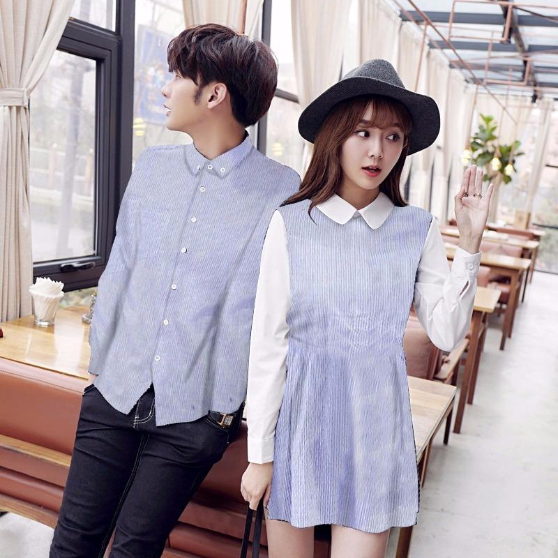 Jakarta Couple - Dress Couple Salur Biru / Baju Pasangan / Kemeja Dress Couple / Baju Kapel Murahh