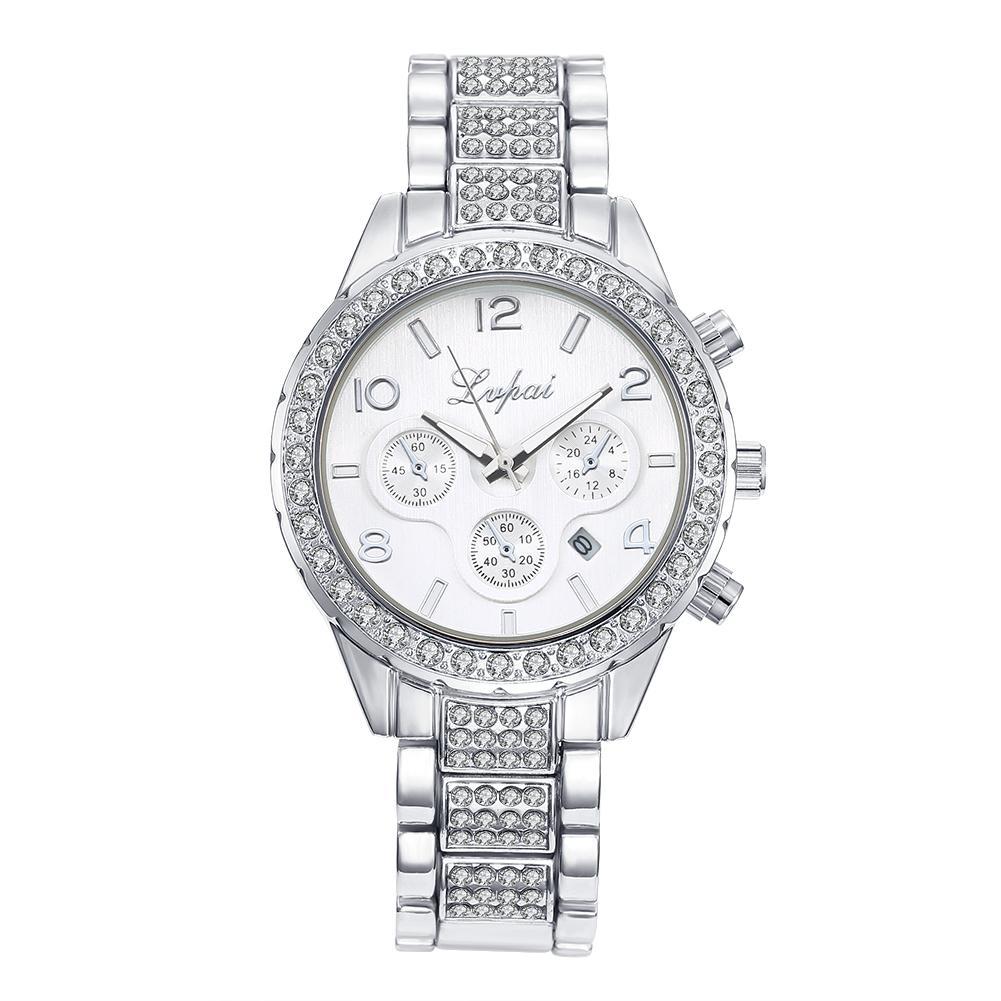 Fashion mewah mewah Bintang Berlian tiga mata kuarsa baja rantai jam tangan WHCD002-A