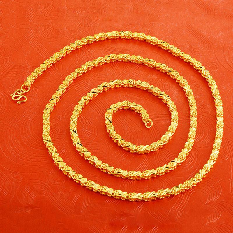 24 K Gold Berlapis Semanggi Bunga Rantai Kalung Perhiasan Ulang Tahun Pernikahan Hadiah Pertunangan Wanita Pria Emas Korea Kalung Rantai Leher