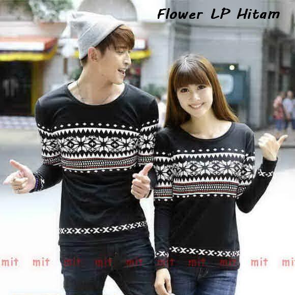 LenganPanjang Kaos Couple Lengan Panjang Keren Baju Pasangan Simple Flower Hitam