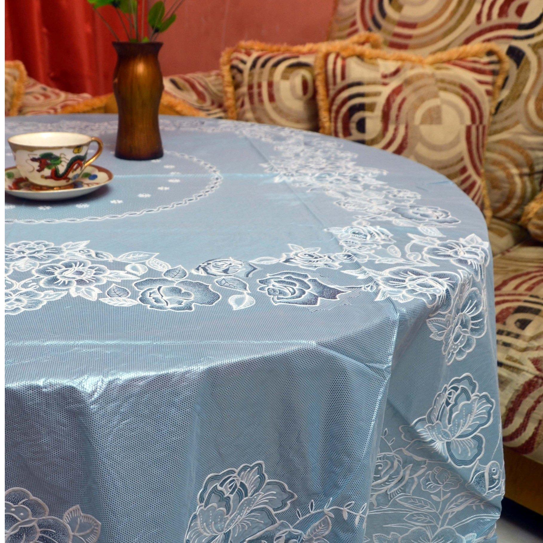 Taplak Meja Makan Vinyl-Lace Bulat @180cm Soft Color