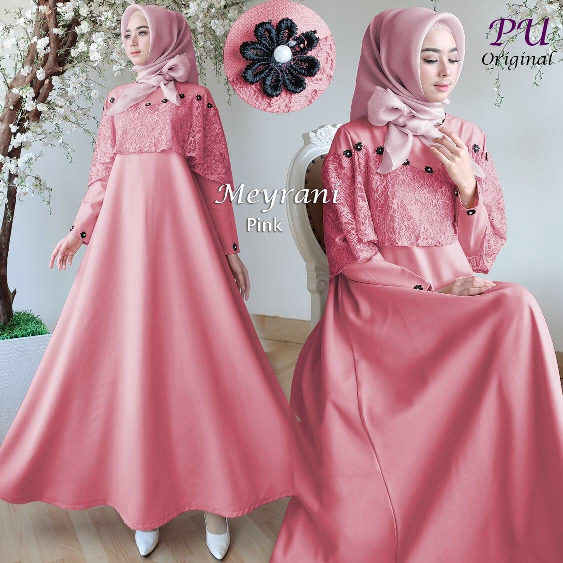 MAXI Meyrani Gaun Pesta MOSSCREPE GAMIS Baju Muslim Long Dress Lebaran