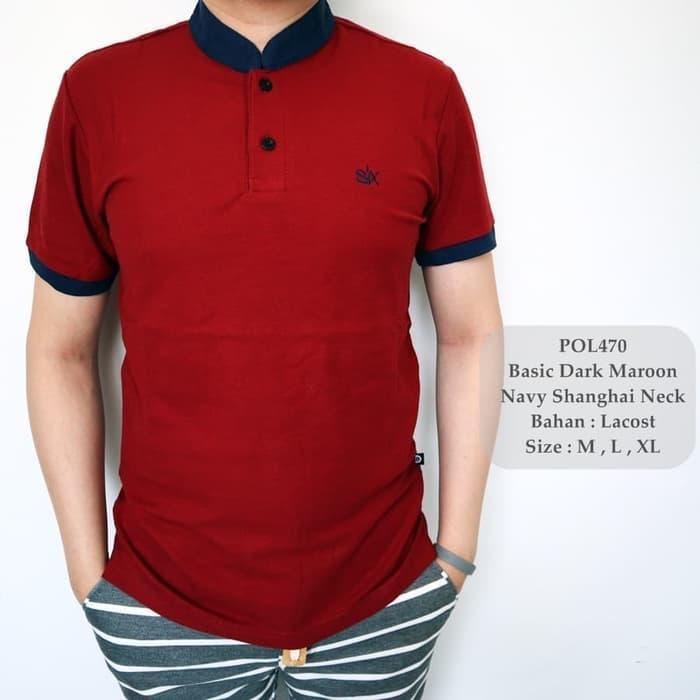 HARGA DISKON!!! Polo Shirt Pria Maroon / Kaos Kerah Shanghai / Polo Cowok Kombinasi - Xp6WTc