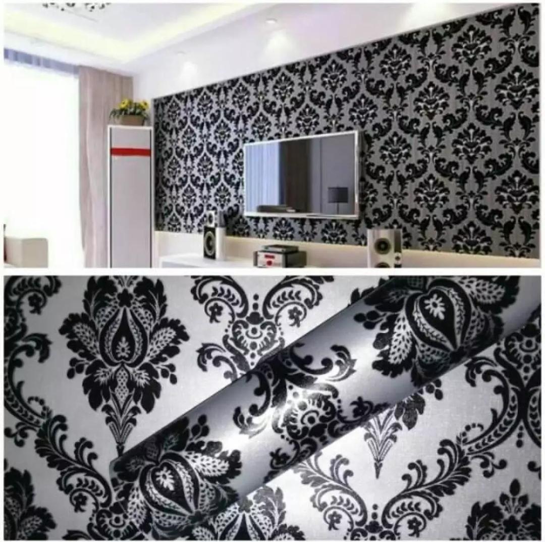 Wallpaper Stiker Dinding Motif Dan Karakter Premium Quality Size 45cm X 10M Batik Hitam Clasik