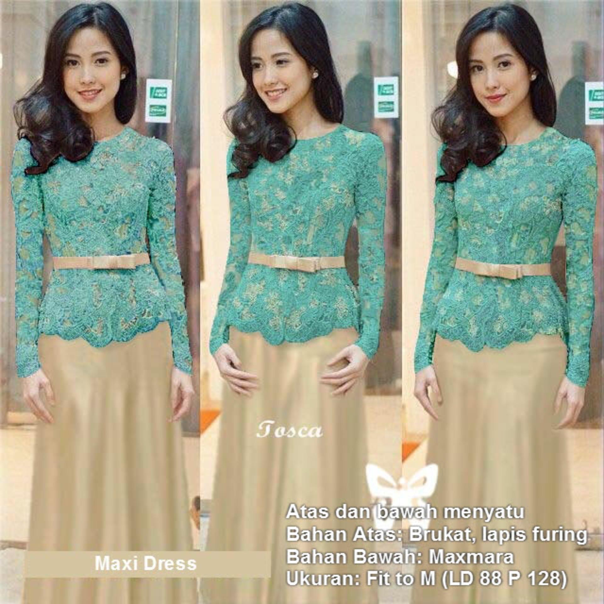 Flavia Store Maxi Dress Lengan Panjang Brukat Fs0202 Tosca Kebaya Modern Gamis Syari Gaun Pesta Muslimah Baju Muslim Wanita Syar I Hijab