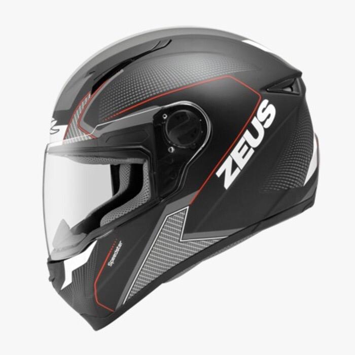 ZEUS 811 matt black doff red hitam dop helm fullface M L XL nolan agv NEW