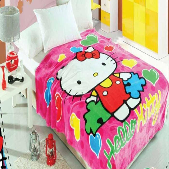 Selimut Anak 150x200cm - Kitty Heart  selimut bed cover bayi dewasa karakter bulu tebal bonita anak doraemon carter bonita