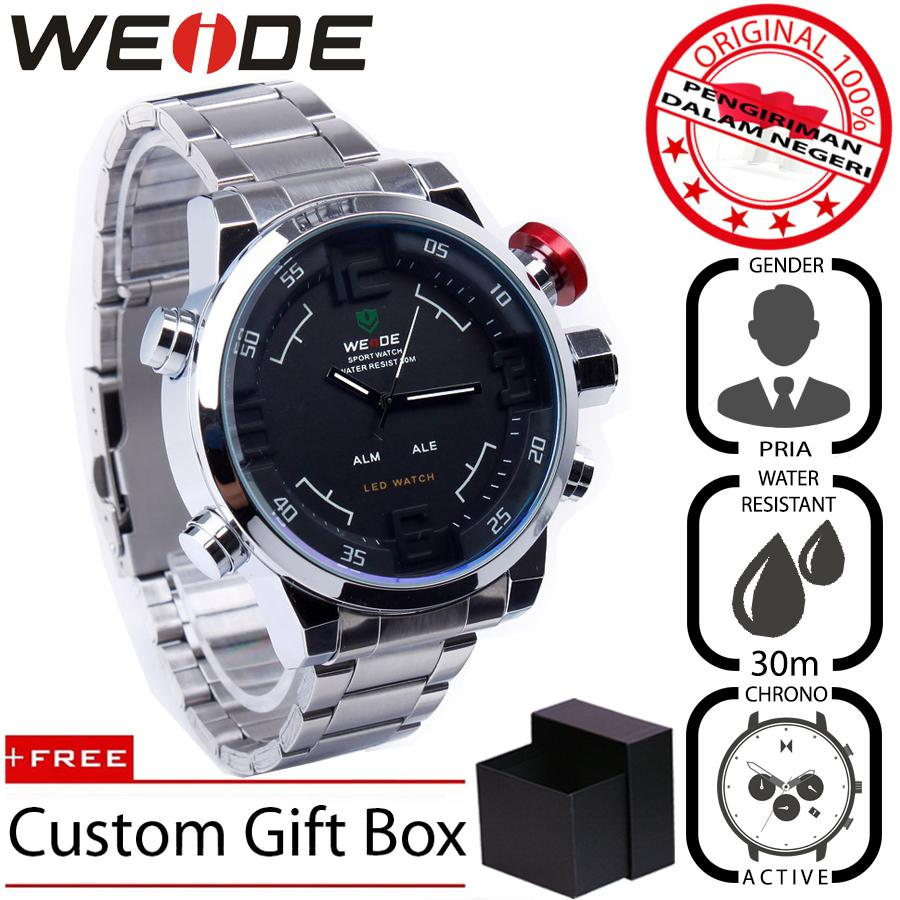 WEIDE 2309 Jam Tangan Pria Casual Business Analog - Digital Stainless 50 mm - Anti Air 30 M - Water Resistant Watches