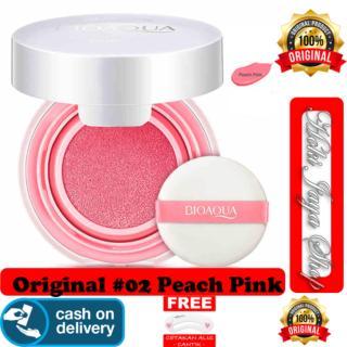 HOKI COD - 02 PEACH PINK - BioAqua Blush On Air Cushion - Smooth Muscle Flawless - Perona Pipi bb refill + Gratis Cetak Alis Cantik - Premium thumbnail