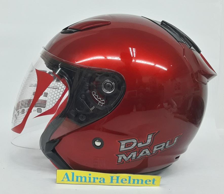 KYT Dj Maru Solid Helm Half Face - Red Maroon