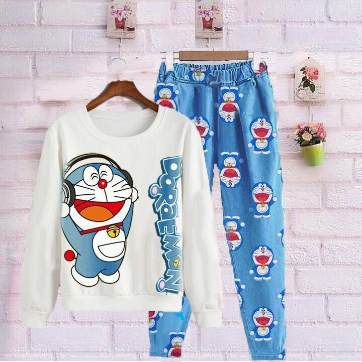 F Fashion Baju Kodok Wanita Setelan Dora Music / Baju Setelan / Baju Jamsuit / Celana Joger / Celana Katun / Baju Doraemon / Baju Kodok / Kaos Bagus / Baju Santai