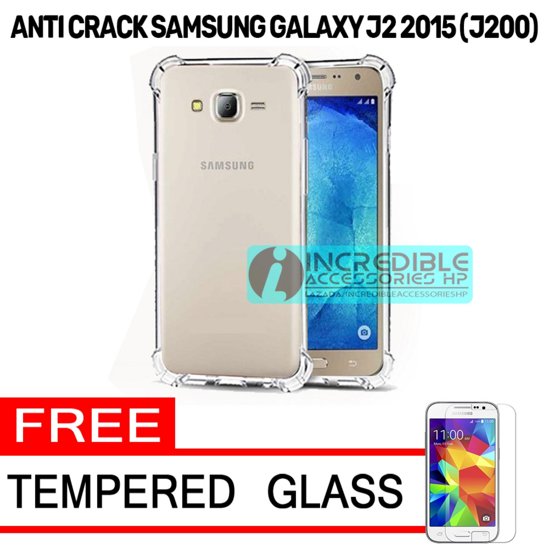 Case Anti Shock / Anti Crack Elegant Softcase  for Samsung Galaxy J2 2015 (J200) - White Clear + Free Tempered Glass
