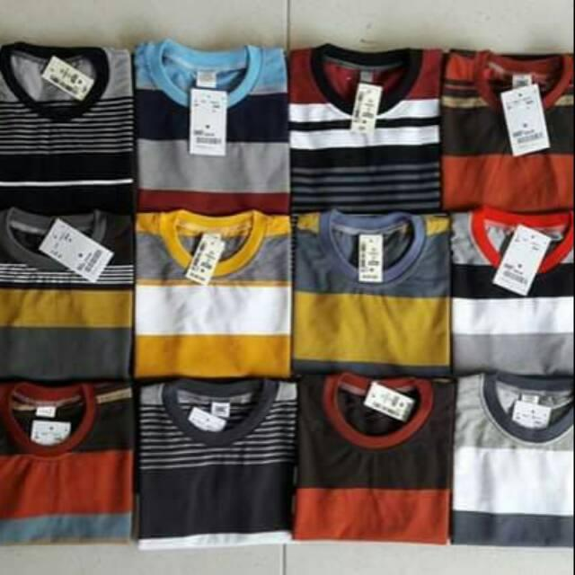 WorldMart- 3 pcs Random Kaos oblong Salur Anak Unisex Usia 1-5 Tahun