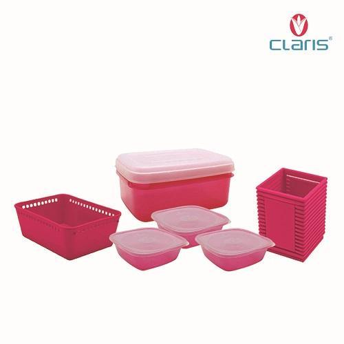 Paket Claris Happy /Tempat makan / storage box / Kulkas Organizer / Foodsaver / 6