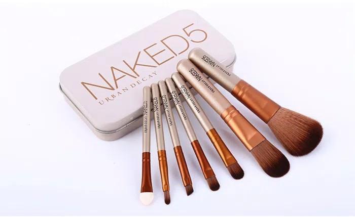 NAKED 5 Brush Kaleng 7 in 1/Make Up Brush Set Naked 5 Isi 7