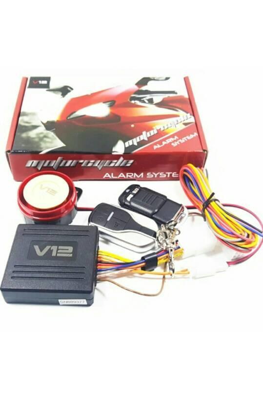 Alarm motor anti maling universal vynix v12 | ( gembok alarm motor anti maling koper sepeda pagar cakram kinbar kode tas mobil clock rumah sensor gerak pintu digital remote lock bht ) |
