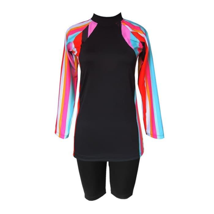 Baju Renang Wanita Setelan Celana Motif Pelangi Vertikal