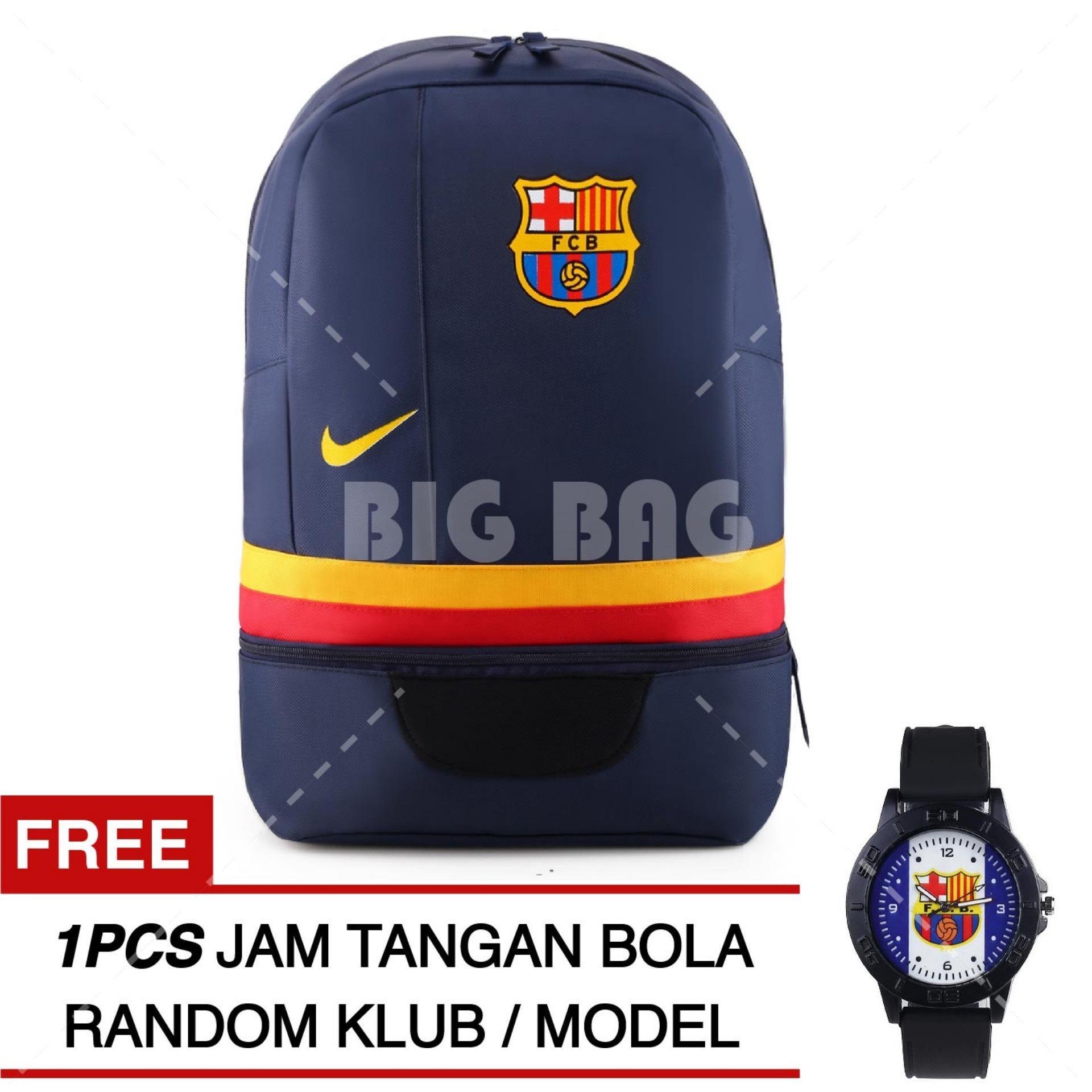 Tas Ransel Nike Bola Pria FC Barcelona Laptop Backpack Men Soccer Editions - Navy + Raincover + FREE Jam Tangan  Pria Random Color / Model