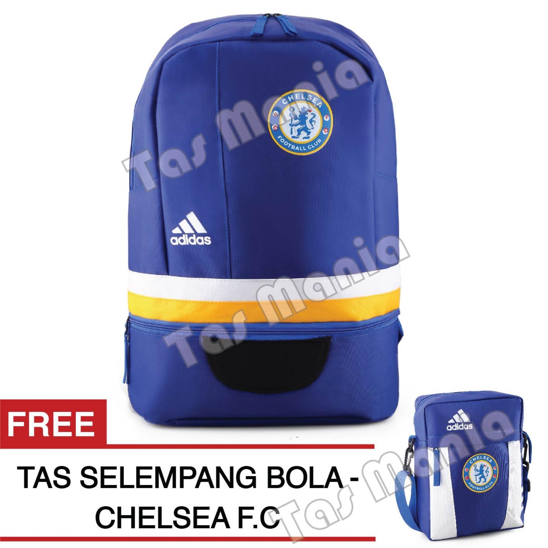 Tas Ransel Adidas Bola Pria Chelsea FC Laptop Backpack Men Soccer Editions - Blue + Raincover + FREE Tas Selempang Chelsea FC - Blue