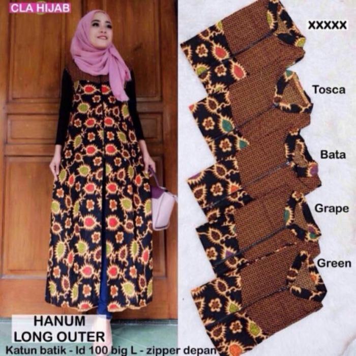 Hanum Long Outer/Long Cardi/Cardigan Wanita Batik