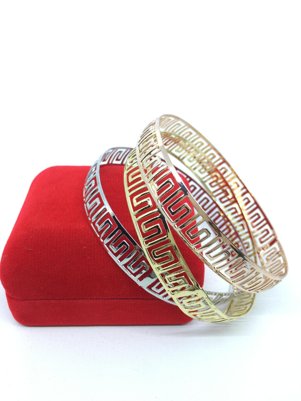 Diskon Promo Perhiasan Aksesoris Gelang Bangle Cewek Tipis 1 pcs Emas 18k Rose Gold Perak BB013 Murah