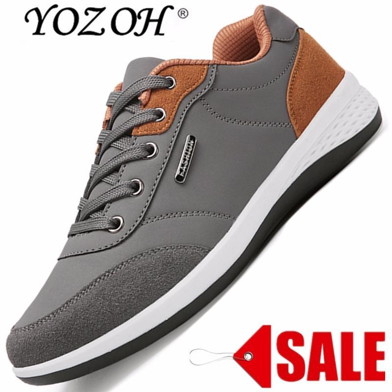YOZOH Hot Gaya Pria Berlari Sepatu Renda Up Bernapas Sneakers Yang Nyaman Berjalan Outdoor Sepatu Alas Kaki-abu-abu