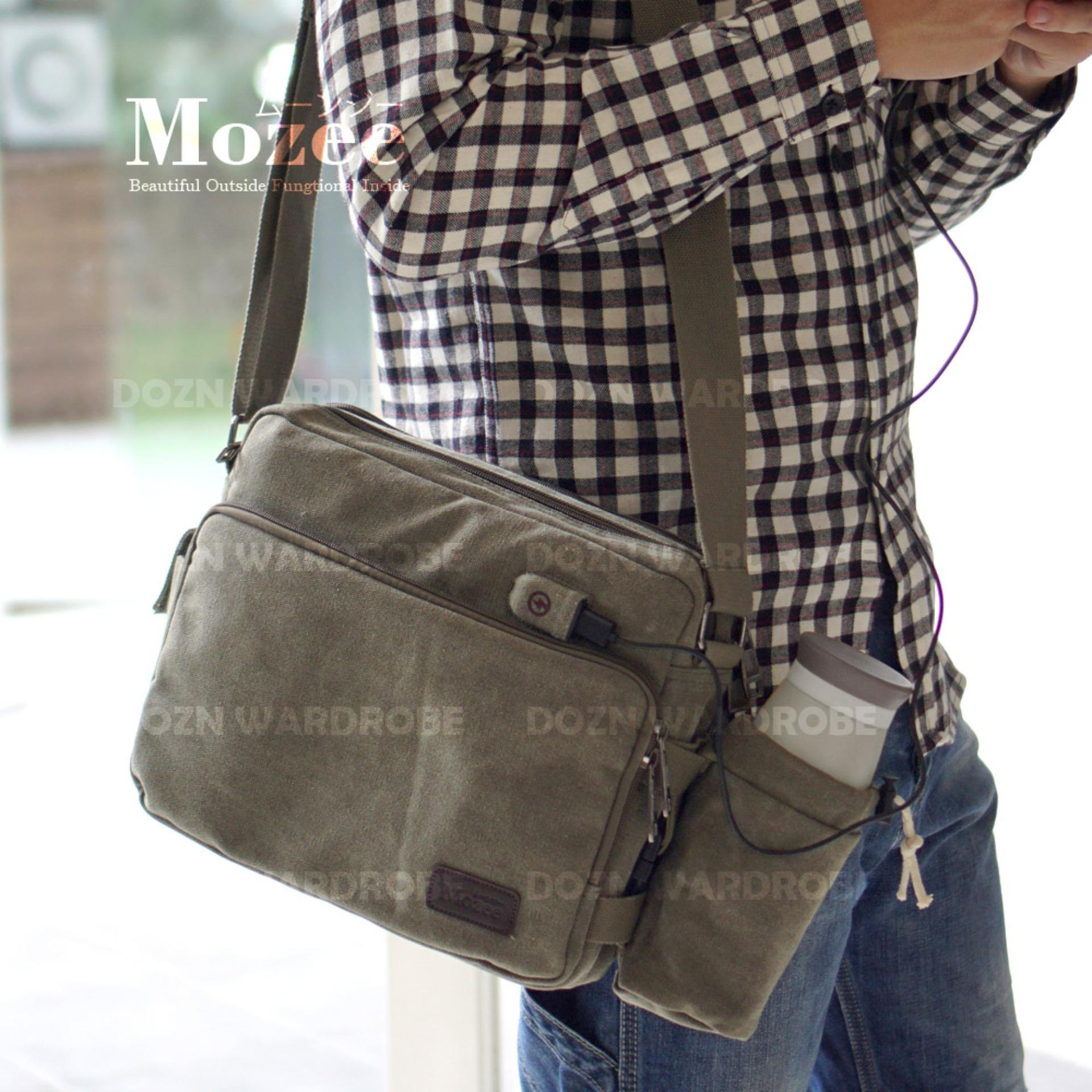 DOZN Tas Pria Men Vintage Canvas Multifunction Travel Satchel Messenger Sling Bag With USB Charge Port 1092