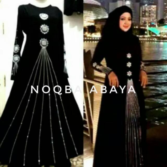 Abaya Dress Gamis Jubah Maxy Syari Singapore Swarosky Hitam Saudi Umrah Haji Saudi Arab Turki India (L Anak)