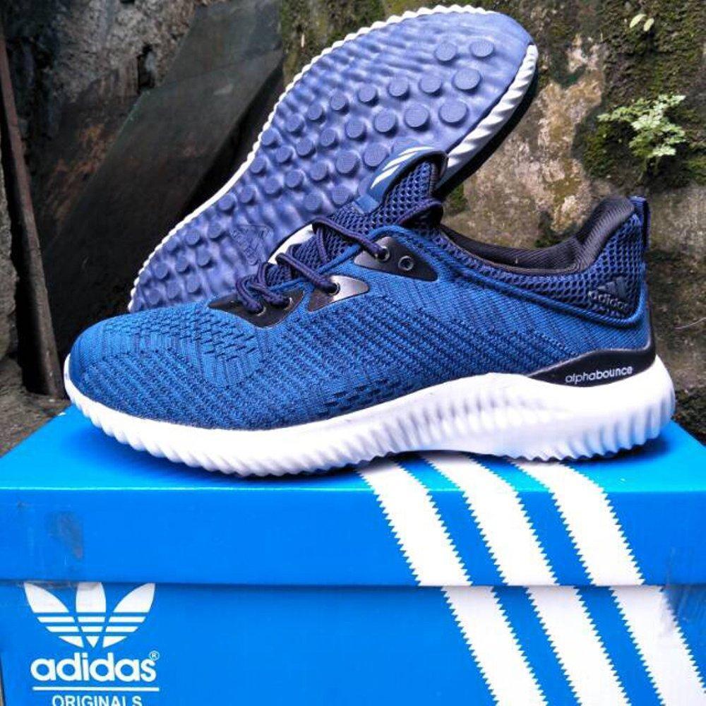Sepatu Sneakers Olahraga Adidas Alphabounce Warna Biru, Sepatu Gym Fitnes