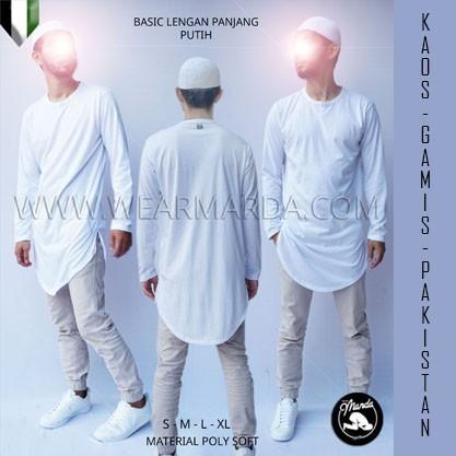 Baju Koko Pria Muslim Casual Panjang Putih ()