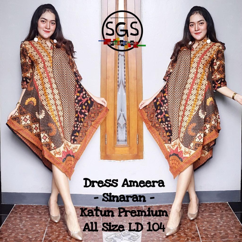 Atasan Dress Tunik Batik Wanita Ameera SInaran B - Premium Batik