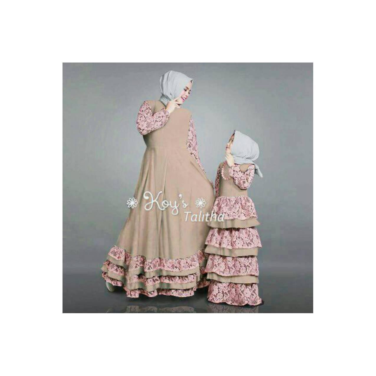 Spesial couple gamis ibu dan anak abaya syar'i rumbai brokat