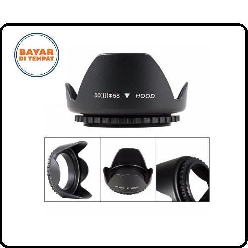 Lens Hood Canon Dslr Lensa Kamera Diameter 58mm Screw Mount Penutup Lensa Kamera Universal - Black By Perfectqueenshop.